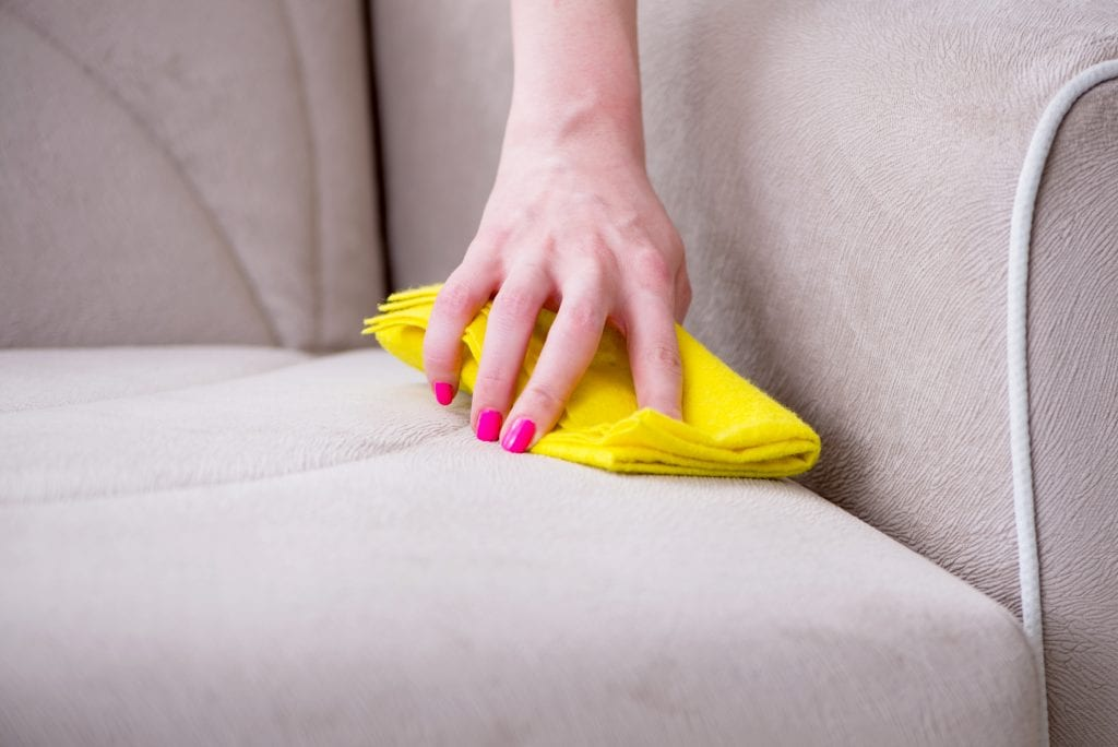 Woman cleaning couch