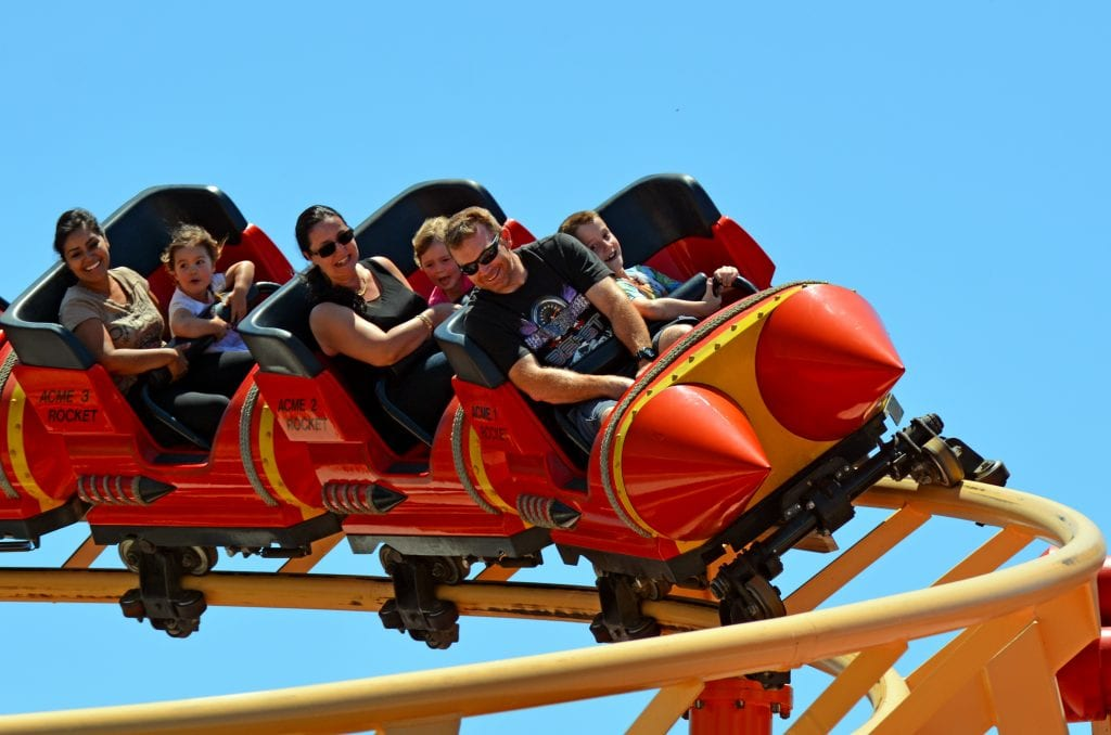 family on rollercoaster at Movie World Gold Coast