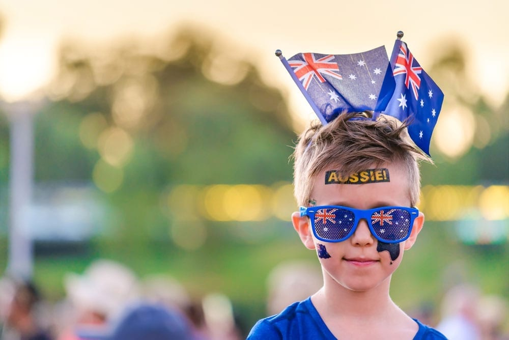 australia day boy with flags