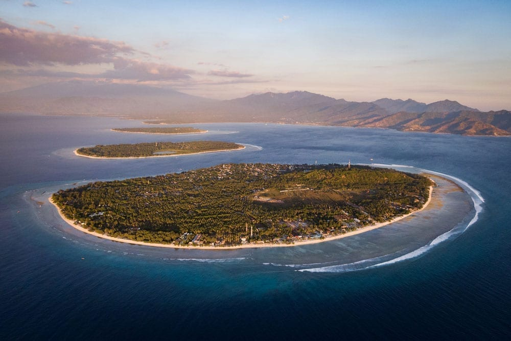 aerial view of the gili islands, lombok