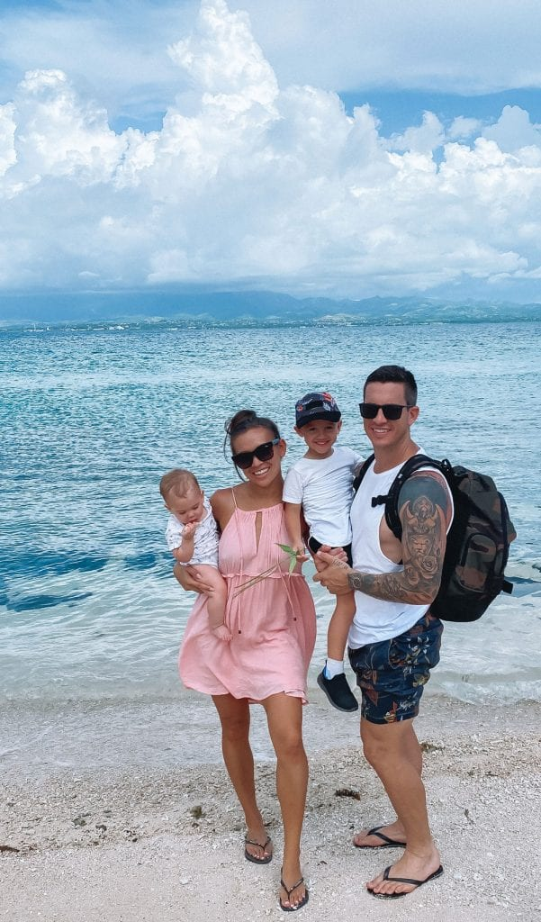 nadine muller and family at denarau island beach