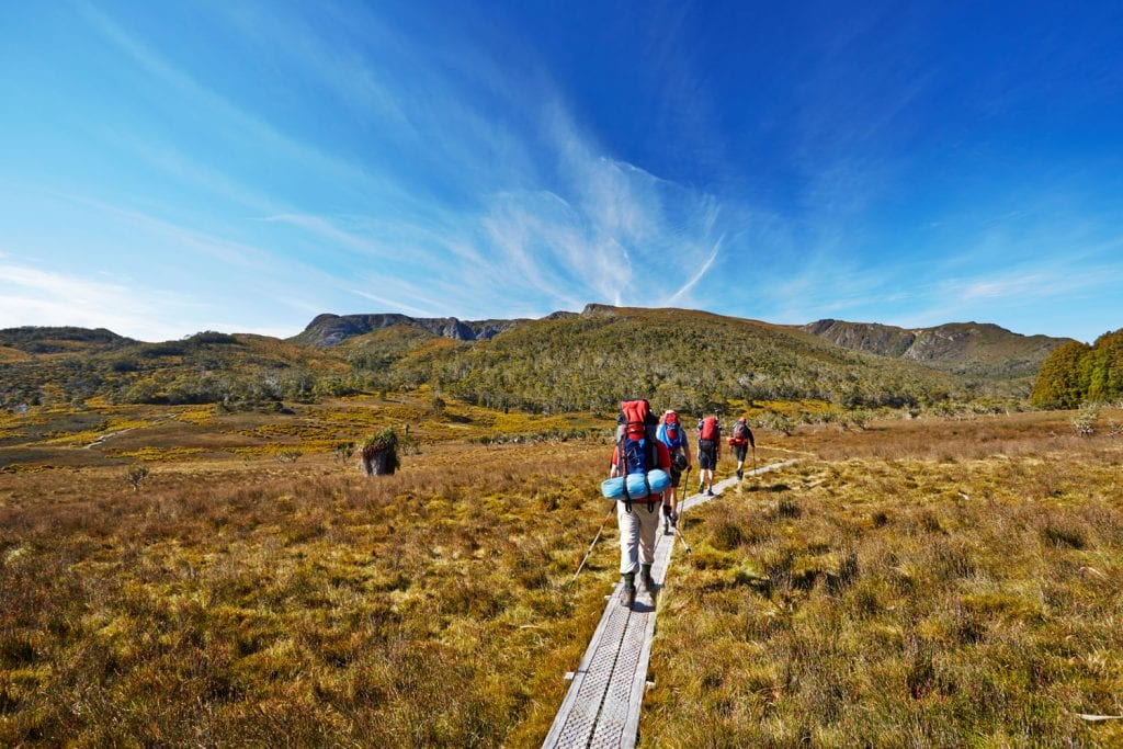 hikers on tasmania's overland trail
