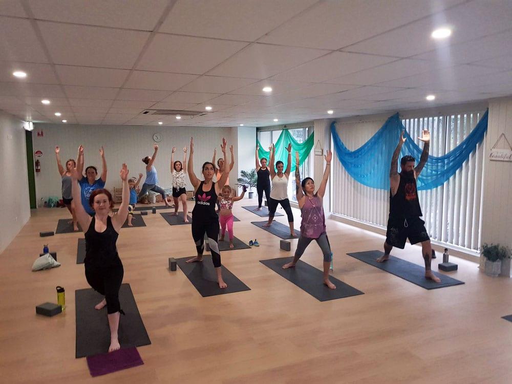 yoga session at core climbing