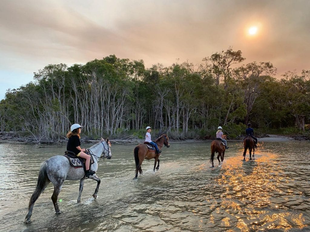 noosa horse riders at lake weyba