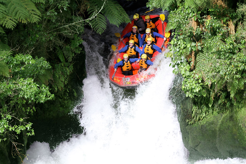 river rats raft going over kaituna waterfall