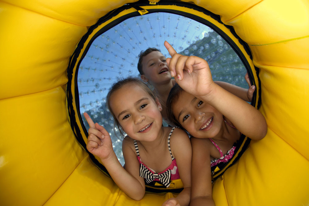 children inside a zorb